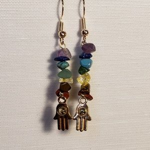 7 Chakra Gemstone Earrings With rose gold Hamsa